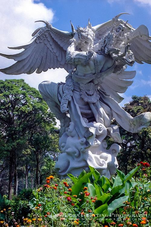 Bali, Tabanan, Bedugul. The Bedugul Botanical Garden (Eka Karya Botanical Garden) was established in 1959. A statue.