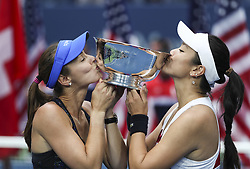 NEW YORK, Sept. 11, 2017  Yung-Jan Chan (R) of Chinese Taipei and Martina Hingis of Switzerland kiss the trophy during the awarding ceremony of the women's doubles match at the 2017 US Open in New York, the United States, Sept. 10, 2017. Yung-Jan Chan and Martina Hingis beat Lucie Hradecka and Katerina Siniakova of the Czech Republic 2-0 in the final match to claim the title. (Credit Image: © Wang Ying/Xinhua via ZUMA Wire)