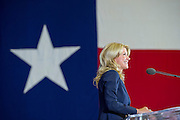 State Sen. Wendy Davis, D-Fort Worth, speaks to supporters at a rally on Thursday, October 3, 2013 in Haltom City, Texas, where she formally declared her candidacy for governor of Texas. (Photo by Cooper Neill)