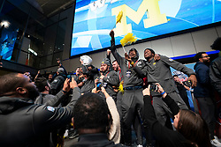 The Michigan Wolverines and the Florida Gators participate in Battle for Bowl Week games at the College Football Hall of Fame on Wednesday, December 26, 2018, in Atlanta. Michigan will face Florida in the 2018 Chick-fil-A Peach Bowl NCAA football game on December 29, 2018. (Jeannie Abell via Abell Images for the Chick-fil-A Peach Bowl)
