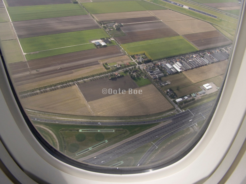 View of the Dutch landscape from an airplane