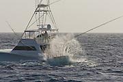 Custom sportfisherman backing hard into the sea with a huge splash slapping the transom.