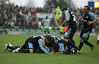 Photo: Lee Earle.<br />Yeovil Town v Swansea City. Coca Cola League 1. 27/10/2007. Swansea's Ferrie Bodde is mobbed after scoring their second goal.