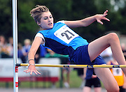 Niamh Lynch from Dublin competing in the High Jump at the  HSE Community Games National Finals 2010 in the AIT in Athlone. Photo:Andrew Downes