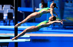 Australia's Esther Qin and Georgia Sheehan in action during the Women's Synchronised 3m Springboard Final at the Optus Aquatic Centre during day seven of the 2018 Commonwealth Games in the Gold Coast, Australia.