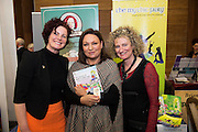 Lynda Flynn Flynn Admin with  Norah Casey and Dolores Gavin Mythical Fairy at the annual SCCUL Enterprise Awards prize giving ceremony and business expo which was hosted by NUI Galway in the Bailey Allen Hall, NUIG. Photo:Andrew Downes