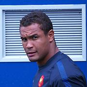 French Captain Thierry Dusautoir arrives for the teams training session at  Onewa Domain, Auckland in preparation for the Rugby World Cup Final against New Zealand at the IRB Rugby World Cup tournament, Auckland, New Zealand, 19th October 2011. Photo Tim Clayton...