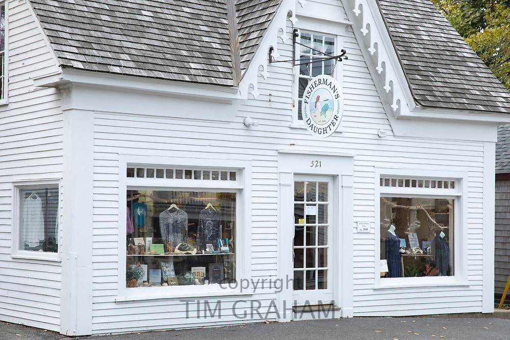 Fisherman's Daughter clapboard store and window displays in High Street at Chatham, Cape Cod New England, USA