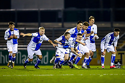 Jordan Carey (capt) of Bristol Rovers U18 and teammates celebrate after a penalty shootout victory - Rogan/JMP - 02/11/2017 - FOOTBALL - Memorial Stadium - Bristol, England - Bristol Rovers U18 v Forest Green Rovers U18 - FA Youth Cup 1st Round.