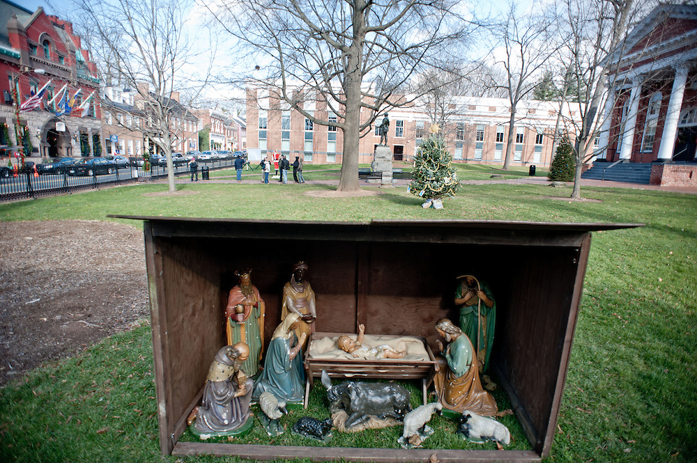 A manger scene is on display in the courtyard of the Loudoun County courthouse on Sunday, December 18th, 2011 in Leesburg, Va.  (Photo by Jay Westcott for The Daily)