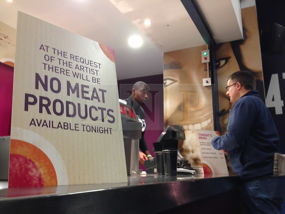 © Licensed to London News Pictures. 29/11/2014. London, UK. A sign at a fast food outlet at the O2 Arena states that no meat products will be sold, during the night that rock-star Morrissey performs, at Morrissey's request.   Morrissey is an advocate for animal rights and a supporter of People for the Ethical Treatment of Animals (PETA), and a vegetarian.  Morrissey rose to prominence in the 1980s as the lyricist and vocalist of the band The Smiths,  Photo credit : Richard Isaac/LNP