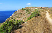 Coastal clifftop footpath near Ta' Cenc, island of Gozo, Malta