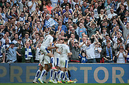 Tranmere Rovers players celebrate scoring their first goal and equaliser as Steven Jennings (Tranmere Rovers) shoots from centre of the box and puts it into the top corner during the Vanarama National League Play Off Final match between Tranmere Rovers and Forest Green Rovers at Wembley Stadium, London, England on 14 May 2017. Photo by Mark P Doherty.