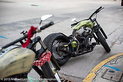 Out in the street during the Industry party at Bill Dodge's bike shop during the 2015 Biketoberfest Rally. Daytona Beach, FL, USA. October 16, 2015.  Photography ©2015 Michael Lichter.