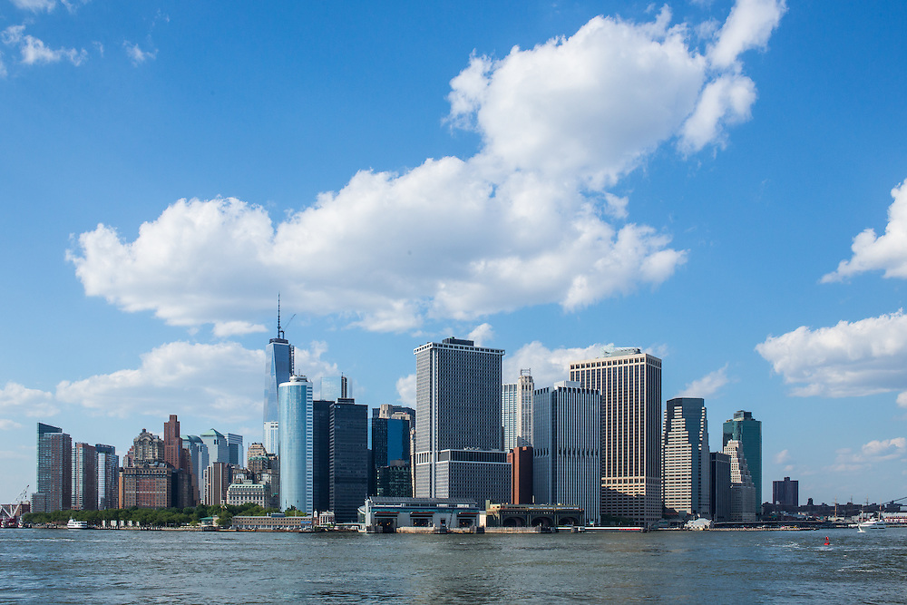 The southern tip of Manhattan seen from the Governors Island Ferry. The tallest building in the photo is Freedom Tower at 1 World Trade Center, under construction.