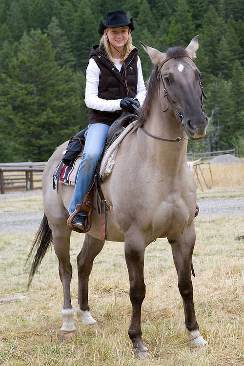 United States, Montana, Livingston, girl (age 12) on horse at dude ranch  MR