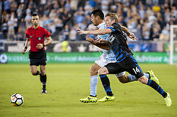 August 9, 2017 - Kansas City, Kansas, United States - Kansas City, KS - Wednesday August 9, 2017: Roger Espinoza, Jackson Yueill during a Lamar Hunt U.S. Open Cup Semifinal match between Sporting Kansas City and the San Jose Earthquakes at Children's Mercy Park. (Credit Image: © Amy Kontras/ISIPhotos via ZUMA Wire)