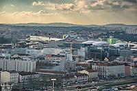Lyon. Vue generale sur la Confluence depuis Fourviere