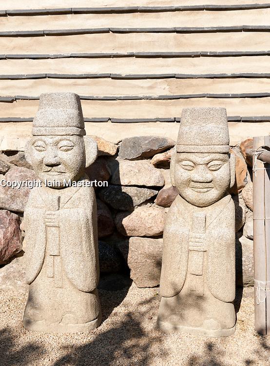 Statues at The Korean Garden in the Garten der Welt in Marzahn district of Berlin Germany