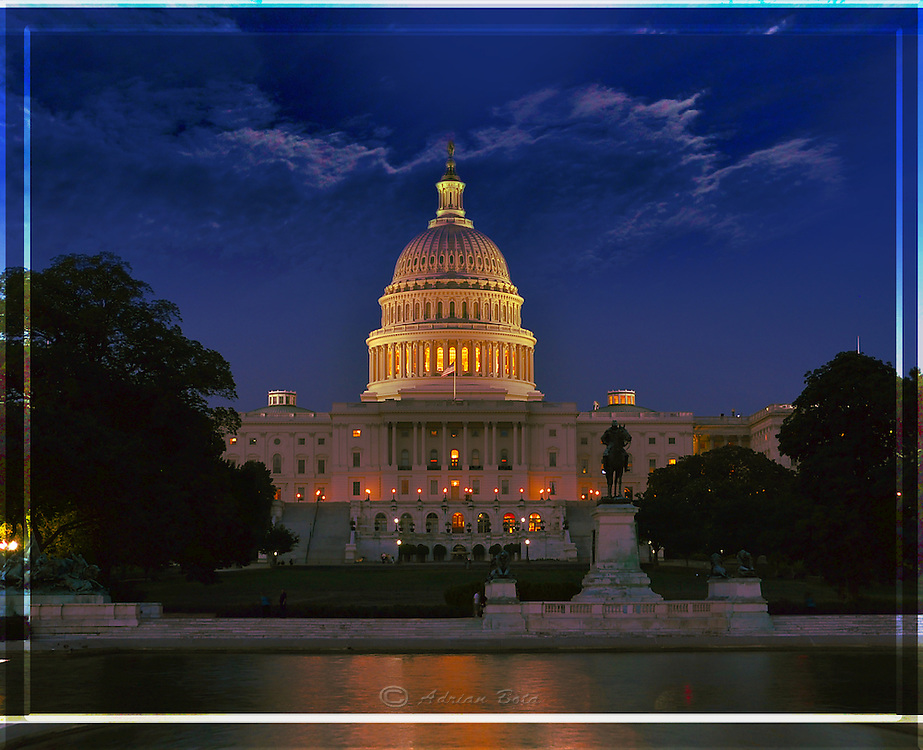"""Capitol at Night, West Side,<br /> Washington DC <br /> <br /> Lead Frame of a 3D Lenticular Series, Printable up to 24x36"""""""