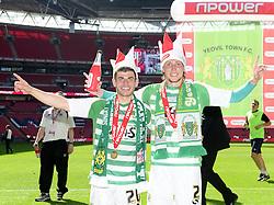 Yeovil Town's Joe Edwards and Yeovil Town's Luke Ayling  celebrate winning the League One Play Off Final  - Photo mandatory by-line: Joe Meredith/JMP - Tel: Mobile: 07966 386802 19/05/2013 - SPORT - FOOTBALL - LEAGUE 1 - PLAY OFF - FINAL - Wembley Stadium - London - Brentford V Yeovil Town
