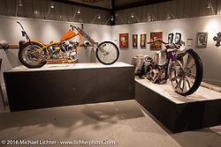 Exhibition motorcycles in Michael Lichter's Skin & Bones tattoo inspired Motorcycles as Art show at the Buffalo Chip Gallery during the annual Sturgis Black Hills Motorcycle Rally.  SD, USA.  August 10, 2016.  Photography ©2016 Michael Lichter.