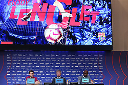 July 13, 2018 - Barcelona, Catalonia, Spain - Jordi Mestre, vicepresident of FC Barcelona, and Eric Abidal, technical director, during the presentation of Clement Lenglet as a new player of FC Barcelona, on 13th July, 2018, in Barcelona, Spain. (Credit Image: © Joan Valls/NurPhoto via ZUMA Press)