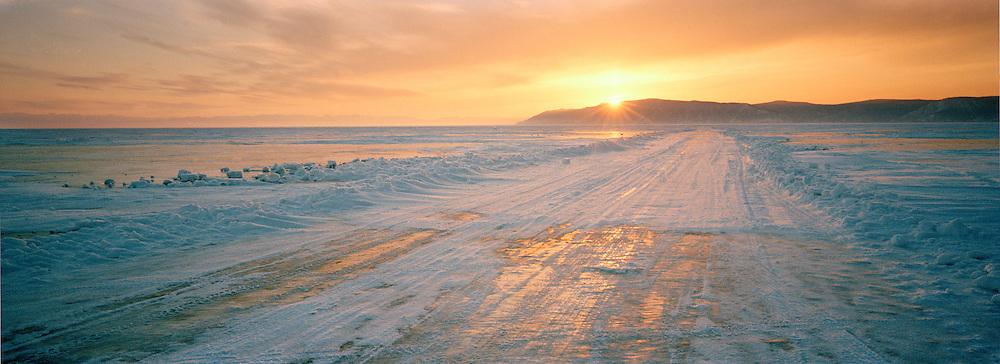 Road across the frozen Lake Baikal, Siberia, Russia