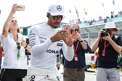 MELBOURNE, AUSTRALIA - MARCH 26 : Lewis Hamilton (2nd L) of the United Kingdom, driving for Mercedes AMG Petronas, takes photos with his mobile phone, during the 2017 Rolex Australian Formula 1 Grand Prix at Albert Park circuit in Melbourne, Australia on March 26, 2017. Asanka Brendon Ratnayake / Anadolu Agency    BRAA20170326_303 Melbourne Australie Australia