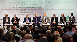 July 4, 2017 - Ramallah, West Bank, Palestinian Territory - Palestinian Prime Minister Rami Hamdallah attends the joint International conference 2017 in the West Bank city of Ramallah, on July 04, 2017  (Credit Image: © Prime Minister Office/APA Images via ZUMA Wire)