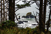 The natural arch in Sea Lion Rock measures about 20 by 20 feet. These sea stacks are seen from the scenic Indian Beach Trail in Ecola State Park, Oregon coast, USA. Deep winter mud on the path kept us from reaching Indian Beach.
