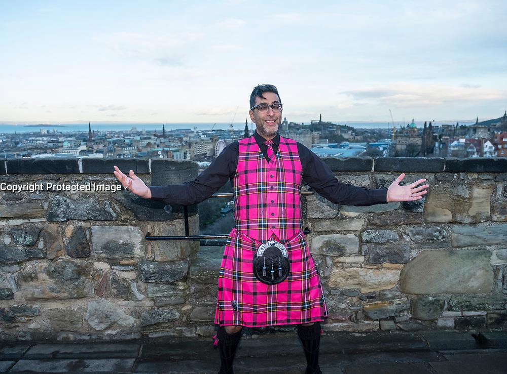 Edinburgh, Scotland, United Kingdom. 13 December , 2017. Actor Sanjeev Kohli, best known for his role in the comedy show Still Game, models the new Edinburgh Hogmanay tartan at Edinburgh Castle. The striking waistcoat and kilt were designed by Scottish clothing brand Slanj.