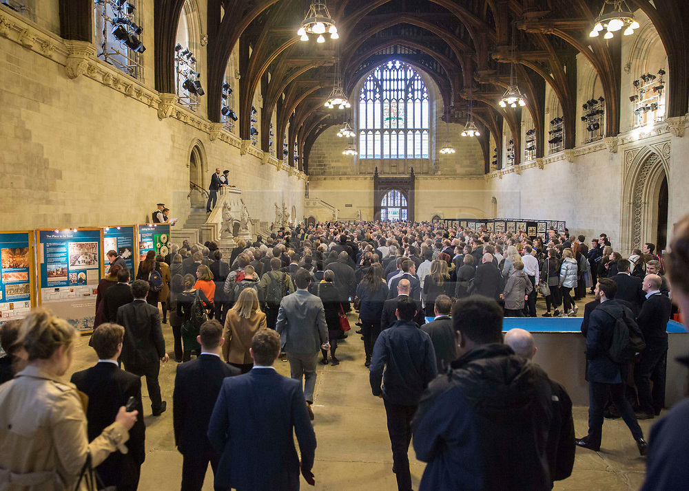 © Licensed to London News Pictures.22/03/2017. London, UK. MP's and staff gather in Westminster Hall during a lockdown in Parliament after a terrorist attack in which a policeman and a woman have been killed.Photo credit: Alison Baskerville/LNP