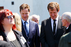 © Licensed to London News Pictures. 12/06/2015. Fort William, UK. ALASTAIR CAMPBELL and NICK CLEGG attending the funeral of ex-Liberal Democrat leader Charles Kennedy at St John's Church in Caol, near his Fort William home in Scotland on Friday, June 12, 2015. Mr Kennedy died suddenly on June 1, 2015 at the age of 55 after suffering a major haemorrhage as a result of a long battle with alcoholism. Photo credit: Tolga Akmen/LNP