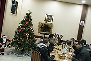 The churchgoers eat lunch after the Sunday sermon at the Samatya kilisesi in Fatih, Istanbul.