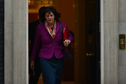 November 20, 2018 - London, England, United Kingdom - Minister of State for Energy Claire Perry leaves number 10, Downing Street following the weekly Cabinet meeting on November 20, 2018 in London, England. The DUP abstained or backed Labour on amendments to the Government's Finance Bill last night sending a message to the Prime Minister that she may not be able to count on their support on the Brexit vote. The DUP entered into a confidence and supply agreement with the Conservative party after the last election but this has faltered since the draft Brexit agreement was revealed. (Credit Image: © Alberto Pezzali/NurPhoto via ZUMA Press)