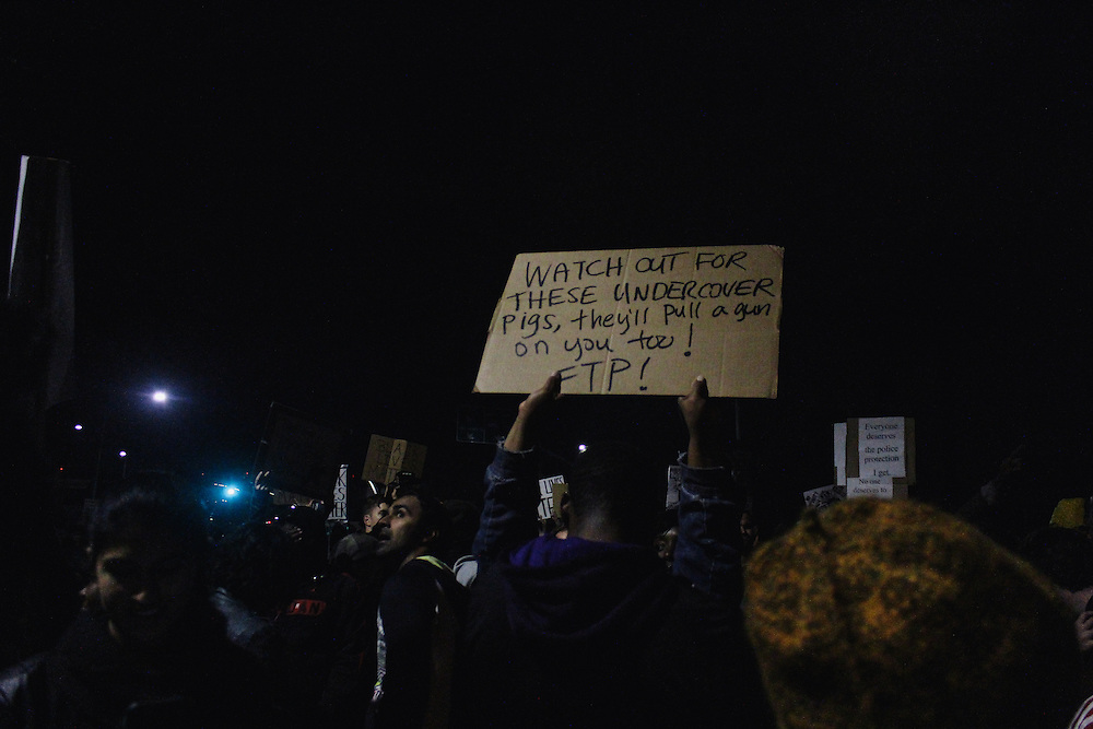 The night before undercover cops pulled a gun on protestors and arrested one.