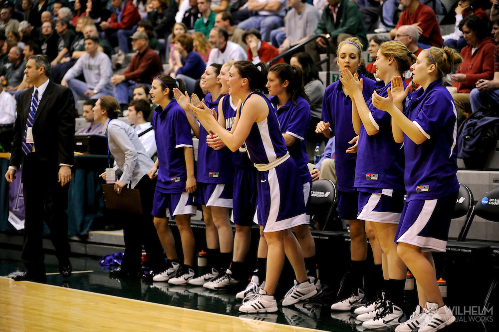 18 MAR 2011:  Members of Amherst College basketball cheer on their teammates against Christopher Newport University during the 2011 NCAA Women's Division III <br /> Basketball Championship held on the campus of the Illinois Wesleyan University in Bloomington, IL. Amherst defeated Christopher Newport 69-59 to advance to the final. © Brett Wilhelm