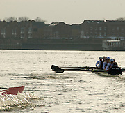 London, Great Britain. Oxford, OUBC [Blue Boat] v. Leander Club, view from the Umpires Launch, as Oxford increase their lead over Leander,  Pre Boat race fixture over the Championship Course  River Thames. Single race piece - Putney to Chiswick Pier.  on Saturday  12/03/2011 [Mandatory Credit; Karon Phillips/Intersport Images]..Crews:.Oxford OUBC: Bow Moritz HAFNER, Ben MYERS, Dave WHIFFIN,  Ben ELLISON,  Karl HUDSPITH,  Alec DENT,  George WHITTAKER, Stroke Constantine LOULOUDIS, Cox Sam WINTER-LEVY. ..Leander: Bow Oliver HOLT,  Will GRAY,  Graham HALL,  John CLAY,  James ORME,  Tom CLARK,  Ben DUGGAN, Stroke David LAMBOURN, Cox Alex OLIJNYK...