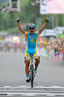 CYCLING - TOUR DE FRANCE 2010 - REVEL (FRA) - 17/07/2010 - PHOTO : VINCENT CURUTCHET / DPPI - <br /> STAGE 13 - RODEZ > REVEL - ALEXANDRE VINOKOUROV (KAZ) / ASTANA / WINNER