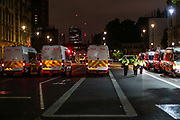 A general view of Whitehall road looking towards parliament square is filled with police vans who are clearing off the road from protestors after long hours of clashes and attempts to maintain peace in central London on Thursday, June 4, 2020. (Photo/ Vudi Xhymshiti)