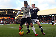 Rui Fonte of Fulham (L) holds off Shane Ferguson of Millwall (R). EFL Skybet football league championship match, Fulham v Millwall at Craven Cottage in London on Saturday 25th November 2017.<br /> pic by Steffan Bowen, Andrew Orchard sports photography.