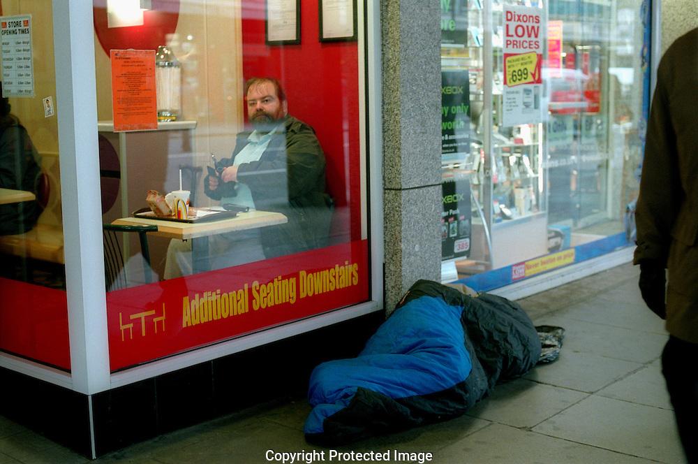Sleeping rough outside Mcdonalds