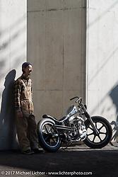 "Hide Motorcycle's Hideya ""Hide"" Togashi's with his Mooneyes unveiled 1966 Harley-Davidson Shovelhead near his shop in Kawasaki, Kanagawa Prefecture Japan. Tuesday December 5, 2017. Photography ©2017 Michael Lichter."