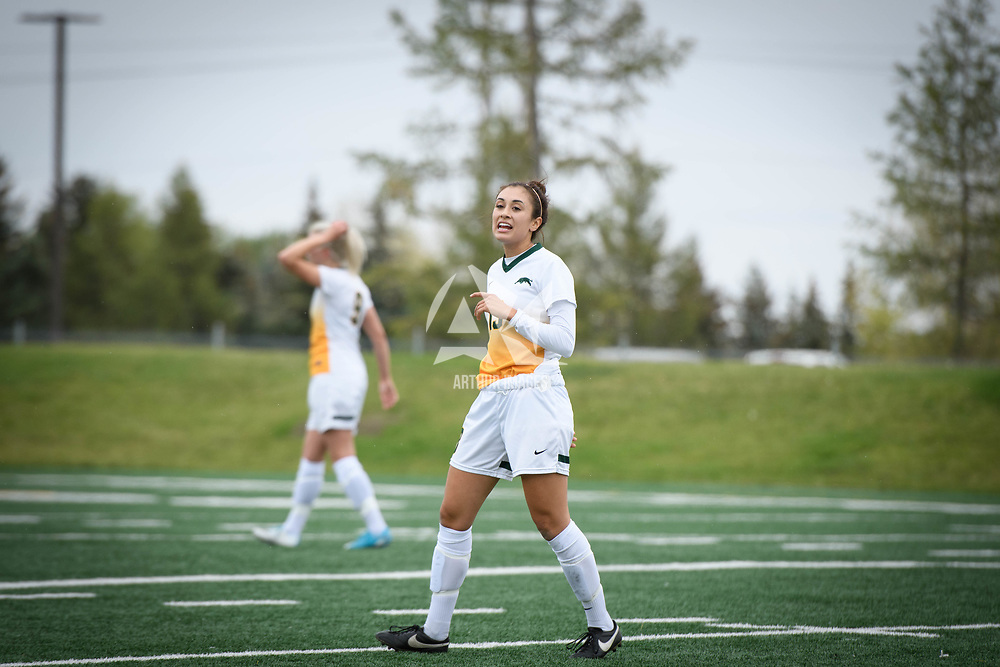 5th year midfielder Shayla Kapila (13) of the Regina Cougars during the Women's Soccer Homeopener on September 16 at U of R Field. Credit: Arthur Ward/Arthur Images
