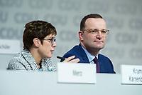 07 DEC 2018, HAMBURG/GERMANY:<br /> Annegret Kramp-Karrenbauer (L), CDU Generalsekretaerin, und Jens Spahn (R), CDU, Bundesgesundheitsminister, beantworten als Kandidaten fuer das Amt des Parteivorsitzenden Fragen der Delegierten, CDU Bundesparteitag, Messe Hamburg<br /> IMAGE: 20181207-01-147<br /> KEYWORDS: party congress