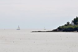 Tip of Haskell Island with Sailboats, Lobster Buoys and Gazebo. View from the Greeley Cottage, South Harpswell, Maine