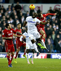 Souleymane Doukara of Leeds United and Joe Bryan of Bristol City challenge for a header - Mandatory by-line: Robbie Stephenson/JMP - 14/02/2017 - FOOTBALL - Elland Road - Leeds, England - Leeds United v Bristol City - Sky Bet Championship