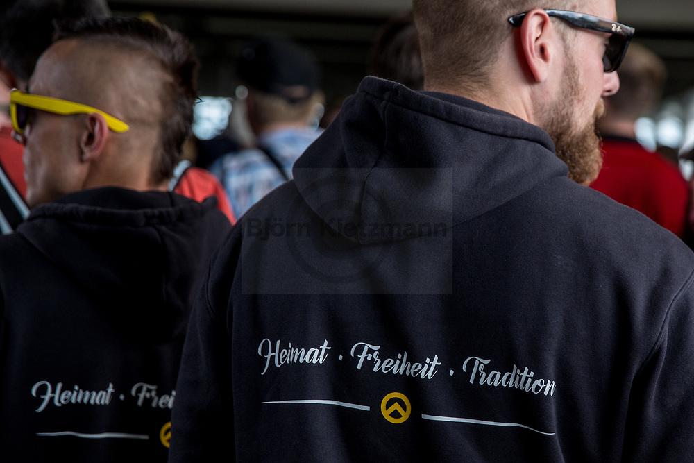 """Berlin, Germany - 17.06.2017<br /> <br /> Aufmarsch der rechtsextremen """"Identitaeren Bewegung"""" in Berlin. <br /> <br /> Photo: Bjoern Kietzmann"""