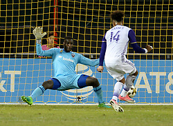 September 9, 2017 - Washington, DC, USA - 20170909 - Orlando City FC forward GILES BARNES (14) scores against D.C. United goalkeeper BILL HAMID (28) in the first half at RFK Stadium in Washington. (Credit Image: © Chuck Myers via ZUMA Wire)